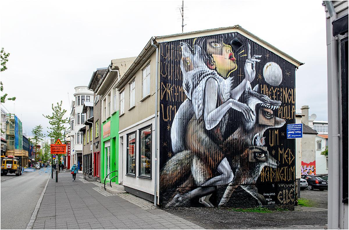 Reykjavik, Laugavegur (IJsland, mei 2016)